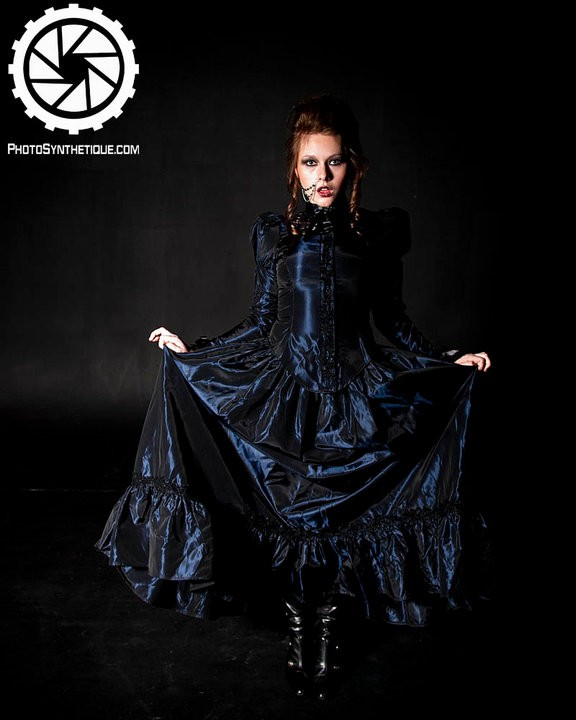 Steampunk Gothic Victorian Dark Blue Wedding Dress Clik to enlarge