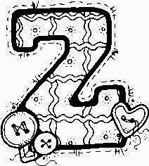 desenho de alfabeto de tecido e botoes para pintar letra Z