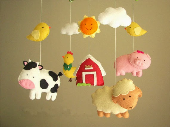 "Baby crib mobile, safari mobile, animal mobile ""Barnyard"" - Lamb, Pig, Hen, Cow, chicks baby shower gift pink pig"