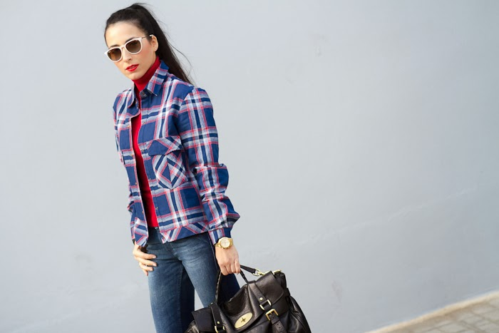 Plaid shirt in blue, white and red