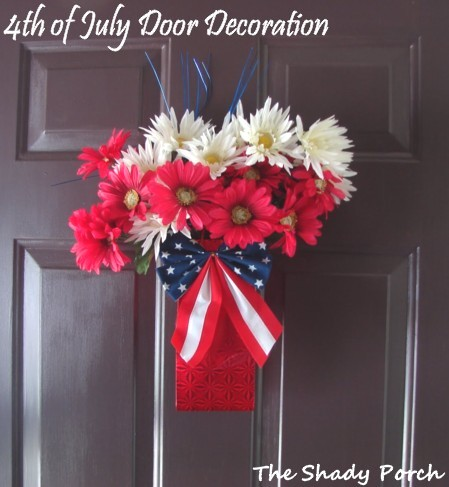 Patriotic Door Decor by The Shady Porch #doordecor #crafts #patriotic