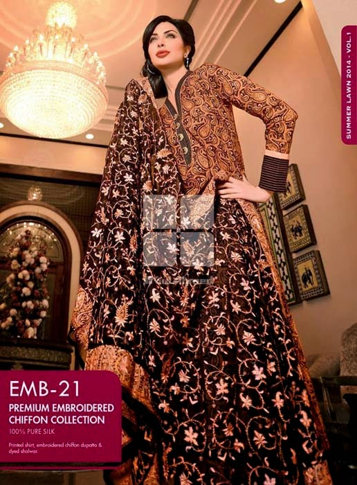 Gul Ahmed Premium Embroidery Lawn Collection 2014