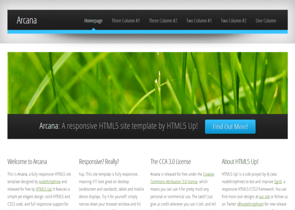Free html5 css3 html5 template arcana responsive for Free website templates html5