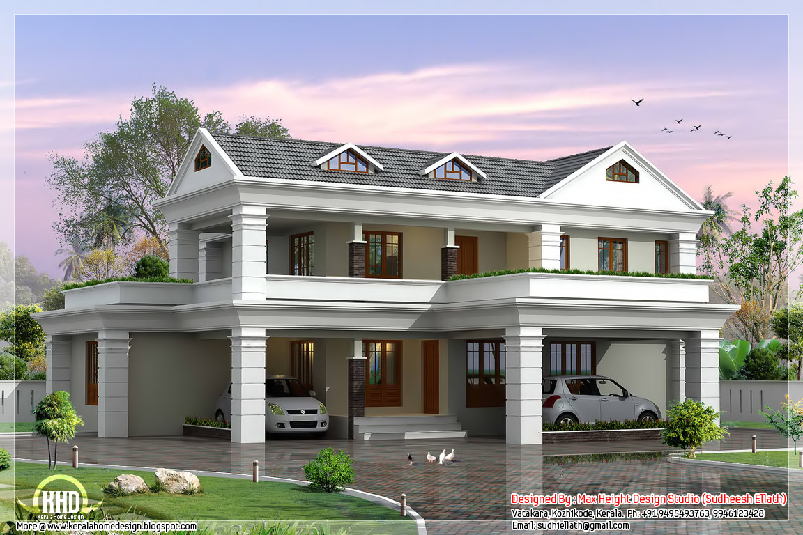 2 Storey Sloping Roof Home Plan Kerala Home Design And