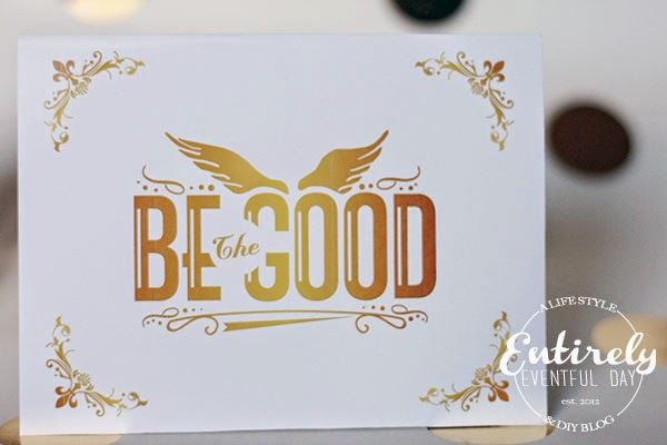 Free printable greeting cards. These look like gold foil. Love this Be the Good design by My Sister's Tee.