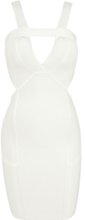 Bandage, Bodycon, Bust Detail, Celeb Boutique, Cream, Cut Out Detail, Dress, Kimberly Wyatt, Mini Dress, Panels, Piping, Sleeveless, Waist Detail