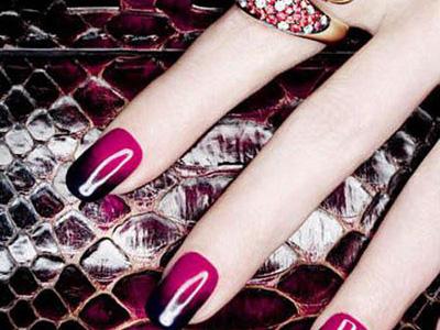 Glossy Pink Black Nail Art