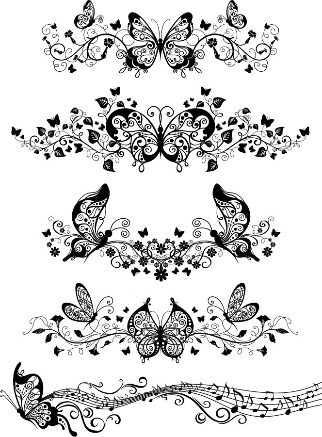 Flower Beautiful Butterfly Pattern Vector