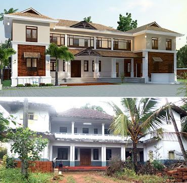 House renovation work by aakriti design studio kerala Old home renovation in kerala