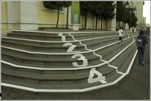 creative ads on stairs