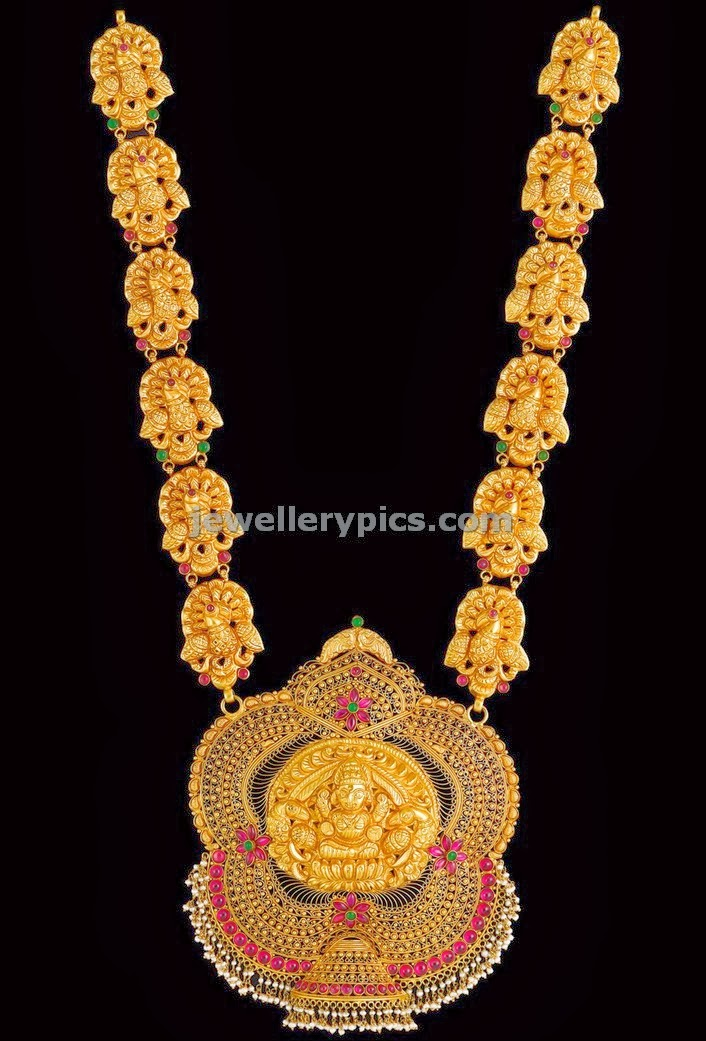 Kalyan Jewellers Nimah Nakshi Temple Long Chain Latest