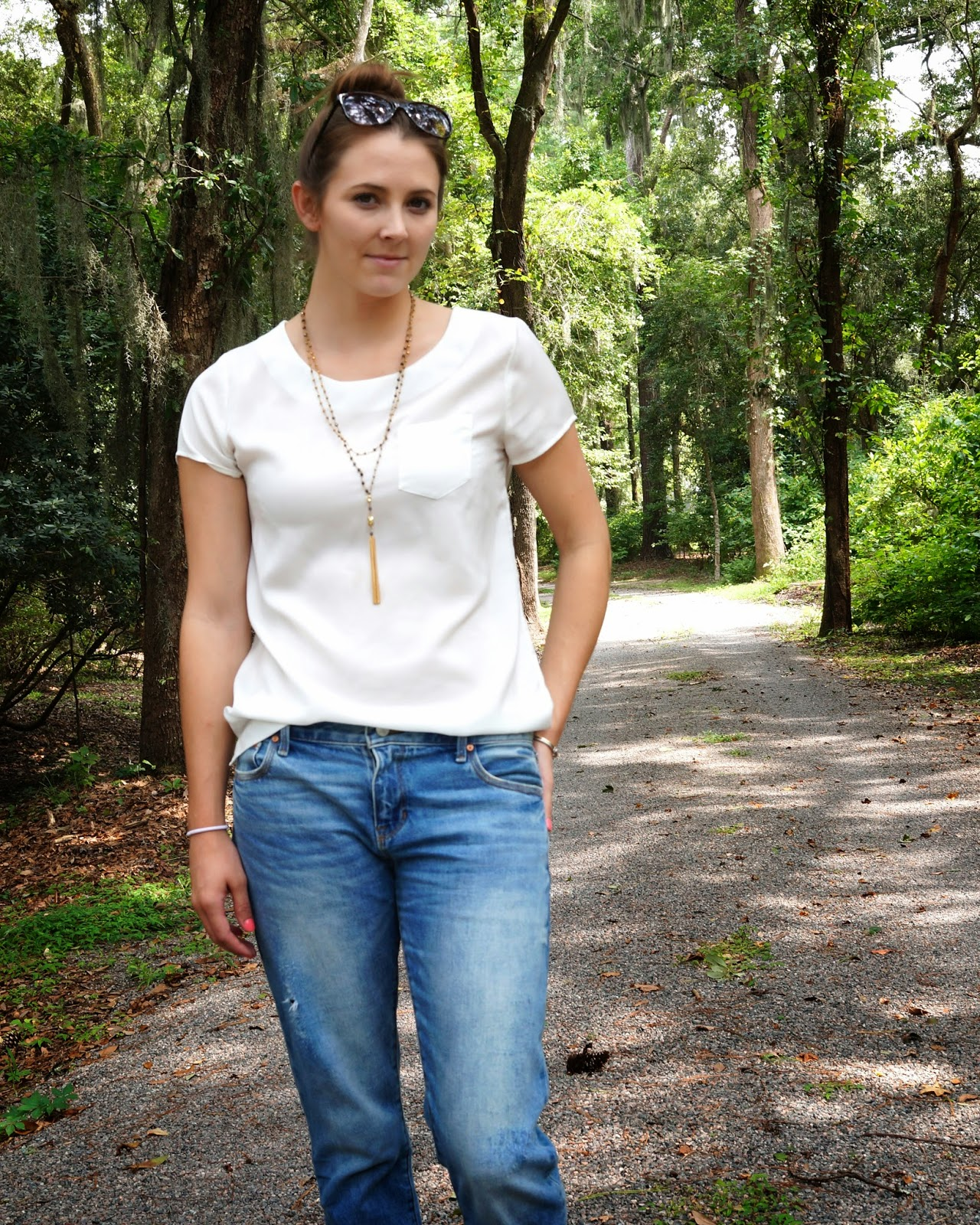 Boyfriend jeans and silk tee