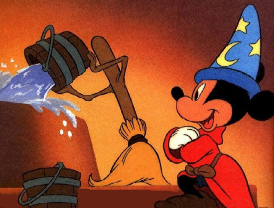 Mickey Mouse as the Sorcerer's Apprentice in Fantasia 1940 disneyjuniorblog.blogspot.com