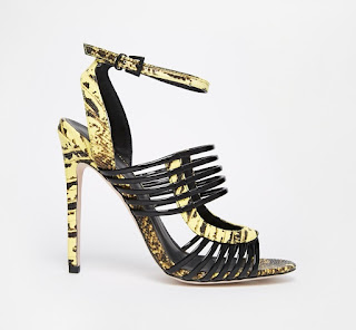 Asos black and yellow high heeled sandals