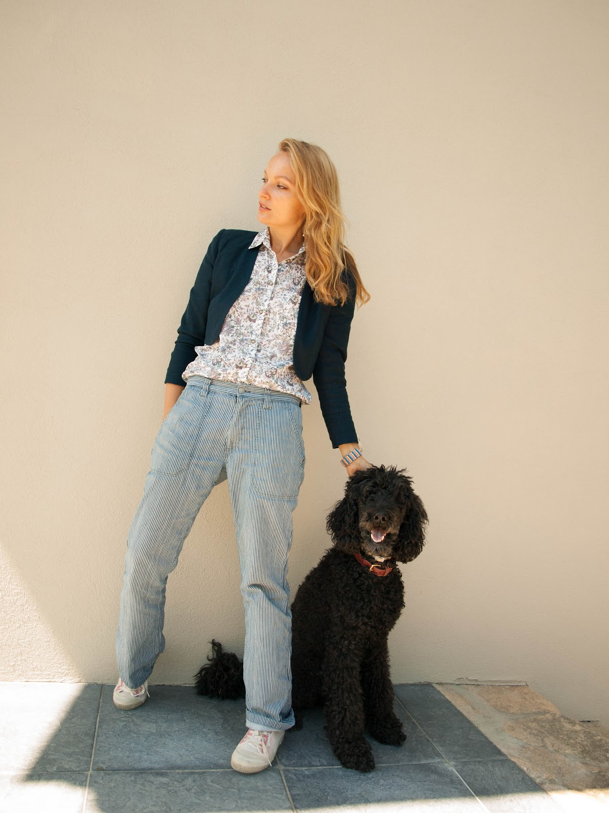 Isabel marant striped pants, Carven jacket, Liberty print blouse, Giant Poodle, tennis shoes