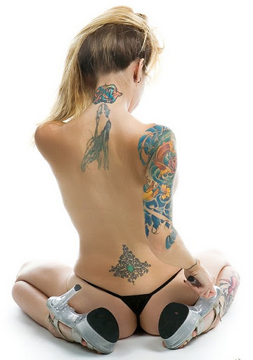 with tattoo Amateur lower back