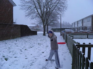 Kian throwing snowballs - Bournemouth Snow -January 2013