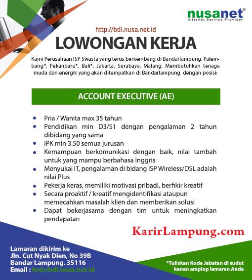 Lowongan Kerja Account Executive Nusanet Bandar Lampung