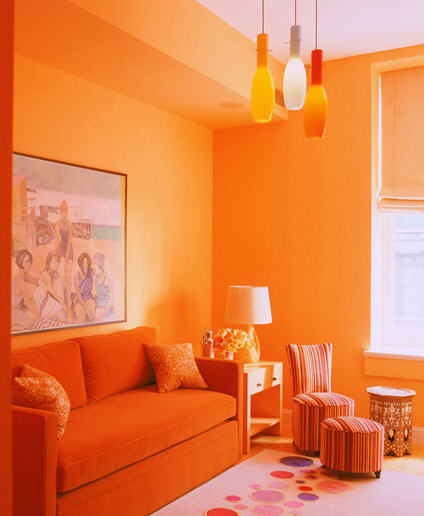Jamie Drake Beauteous With Orange Living Room Image
