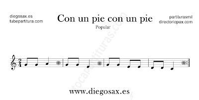 Con un pie con un pie partitura para flauta, violín, saxofón alto, trompeta, clarinete, soprano sax, tenor, oboe, corno inglés, trompa, fliscorno... en clave de Sol