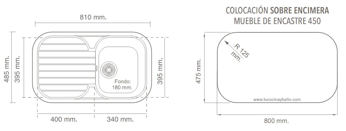 Medidas de encimeras de cocina good image de encimeras de for Dimensiones fregadero