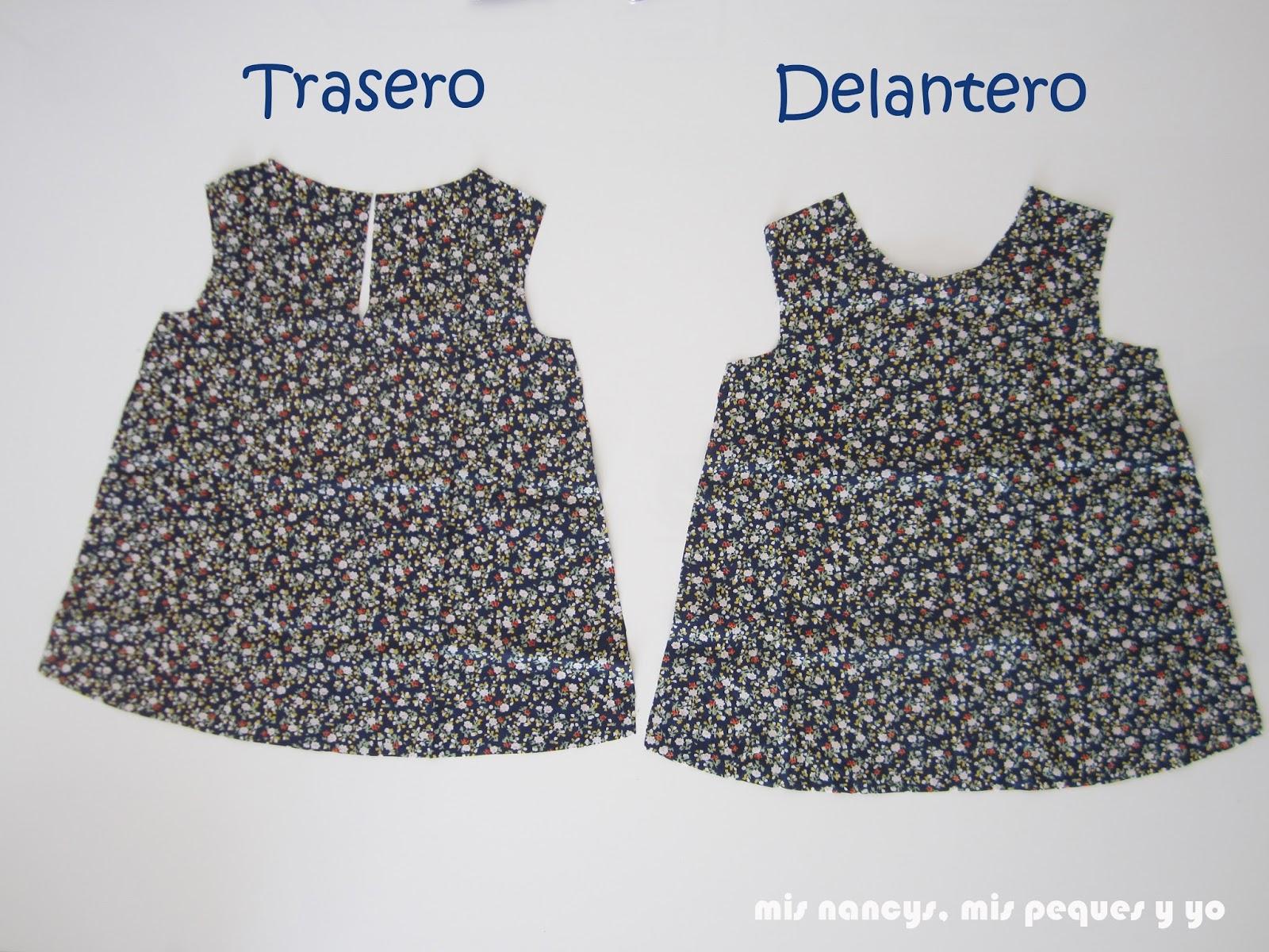 mis nancys, mis peques y yo, tutorial blusa sin mangas niña (patrón gratis), tela cortada delantero y trasero