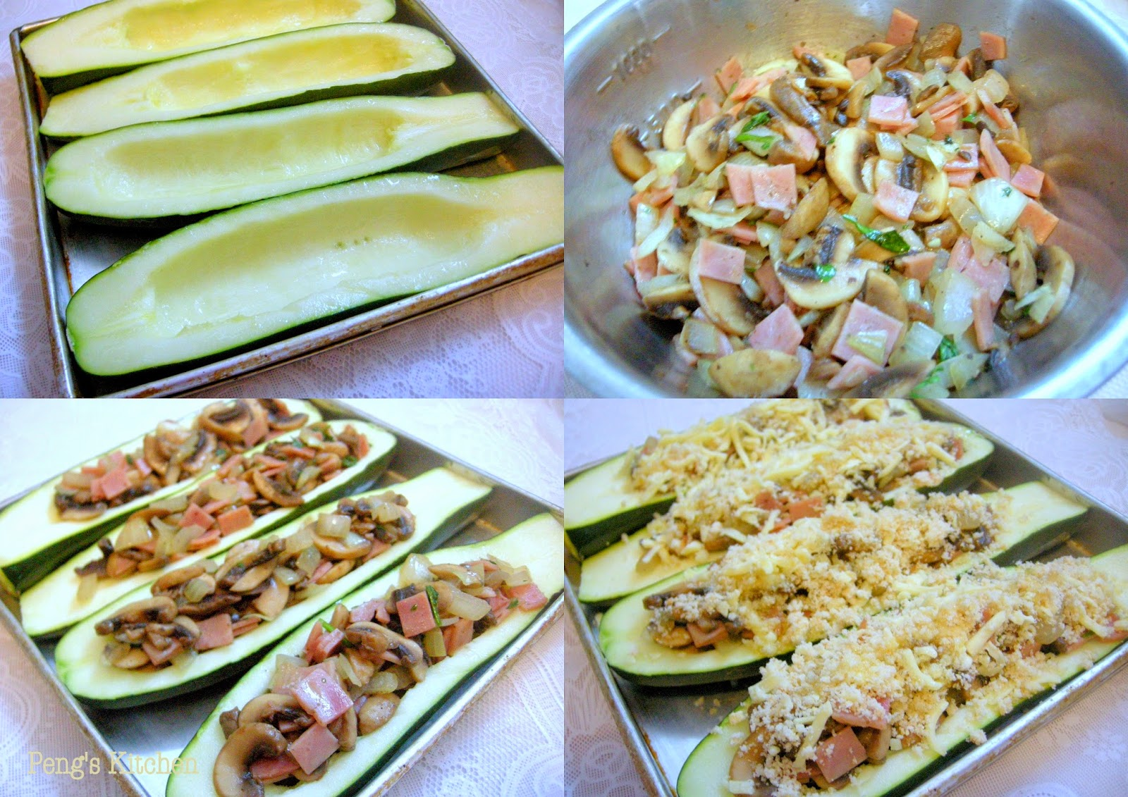 Peng's Kitchen: Stuffed Zucchini with Ham & Mushrooms
