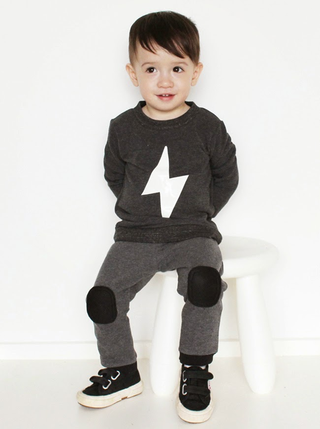 Funky kids' pants with extra padded knees by Moon Fries for spring 2014