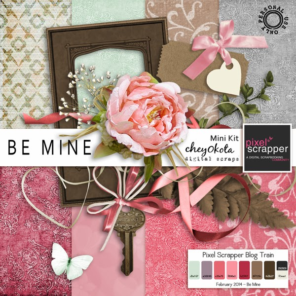 Pixel Scrapper Blog Train - Be Mine Freebie Mini Kit