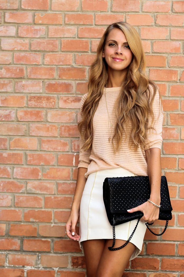 pastel outfit, street style, neutral colors, Zara bag, Mango sweater