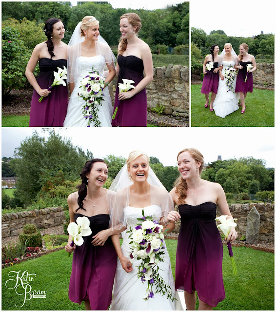 bridesmaids, purple bridesmaid dresses, , crook hall durham wedding, st michaels houghton le spring wedding, crook hall and gardens, durham wedding venue, katie byram photography, durham wedding photographer, newcastle wedding photographer, relaxed weddings durham, purple wedding, calla lillies