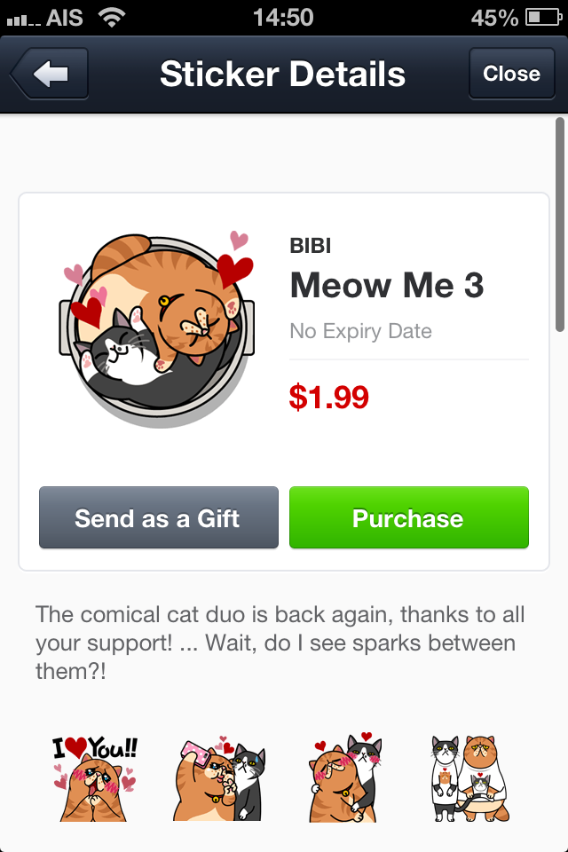 Meow Me 3 line stickers