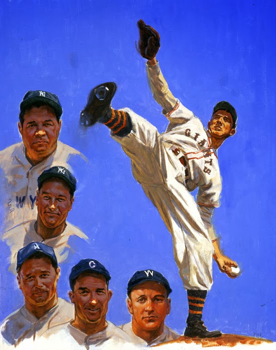 Illustration of baseball greats