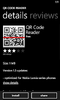 QR Code Reader on Nokia Lumia 920