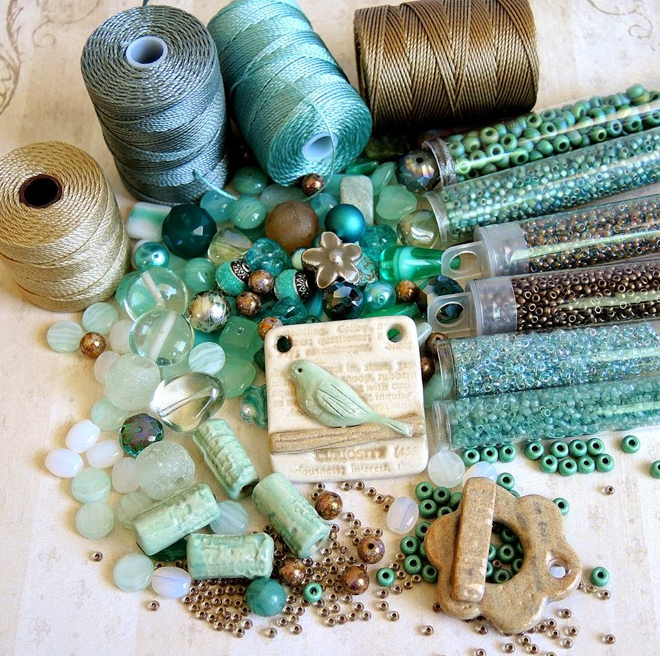Palette of cord and beads and ceramics