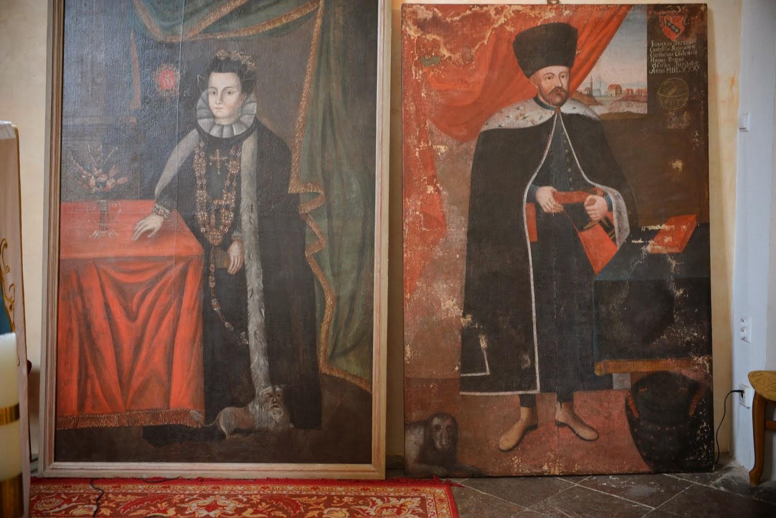 Obrazy Jana i Elżbiety Orzelskiech - fundatorów naszego kościoła