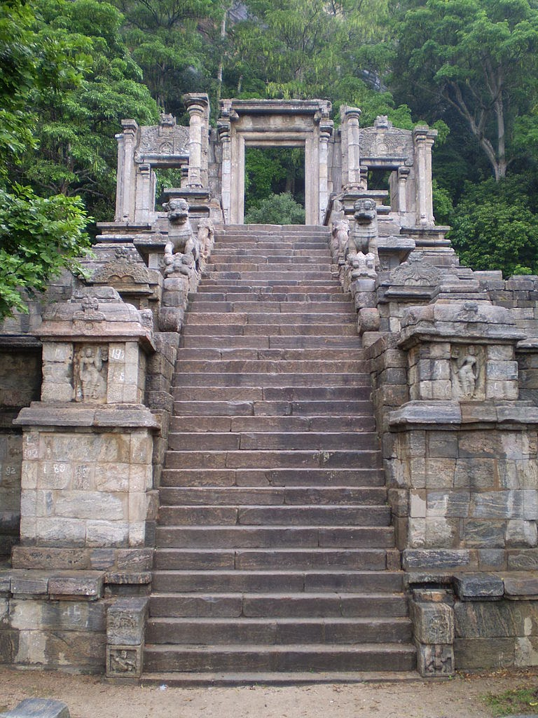 first Sacred Tooth Relic Temple, Yapahuwa, third staircase flanked by Lions, stone stairs