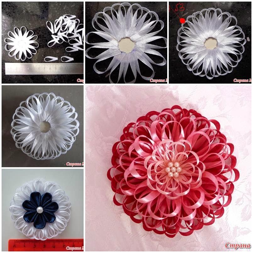 Цветы из узких атласных лент мастер класс