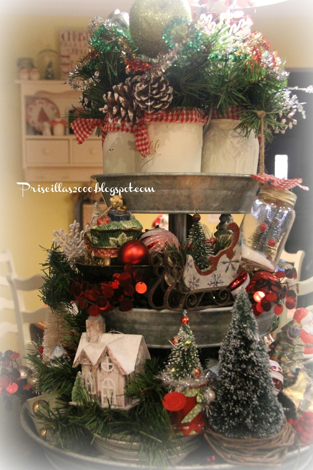 Priscillas christmas galvanized tiered tray