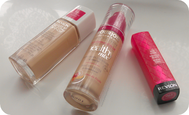 Revlon Nearly Naked foundation, bourjois healthymix foundation, and Revlon lip butter
