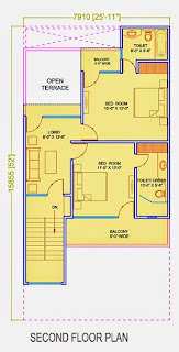 Golf Country, Yamuna Expressway :: Floor Plans,Golf Villa (150 sq. yd.):- Second Floor Plan Plot Area: 893.73 Sq. Ft.