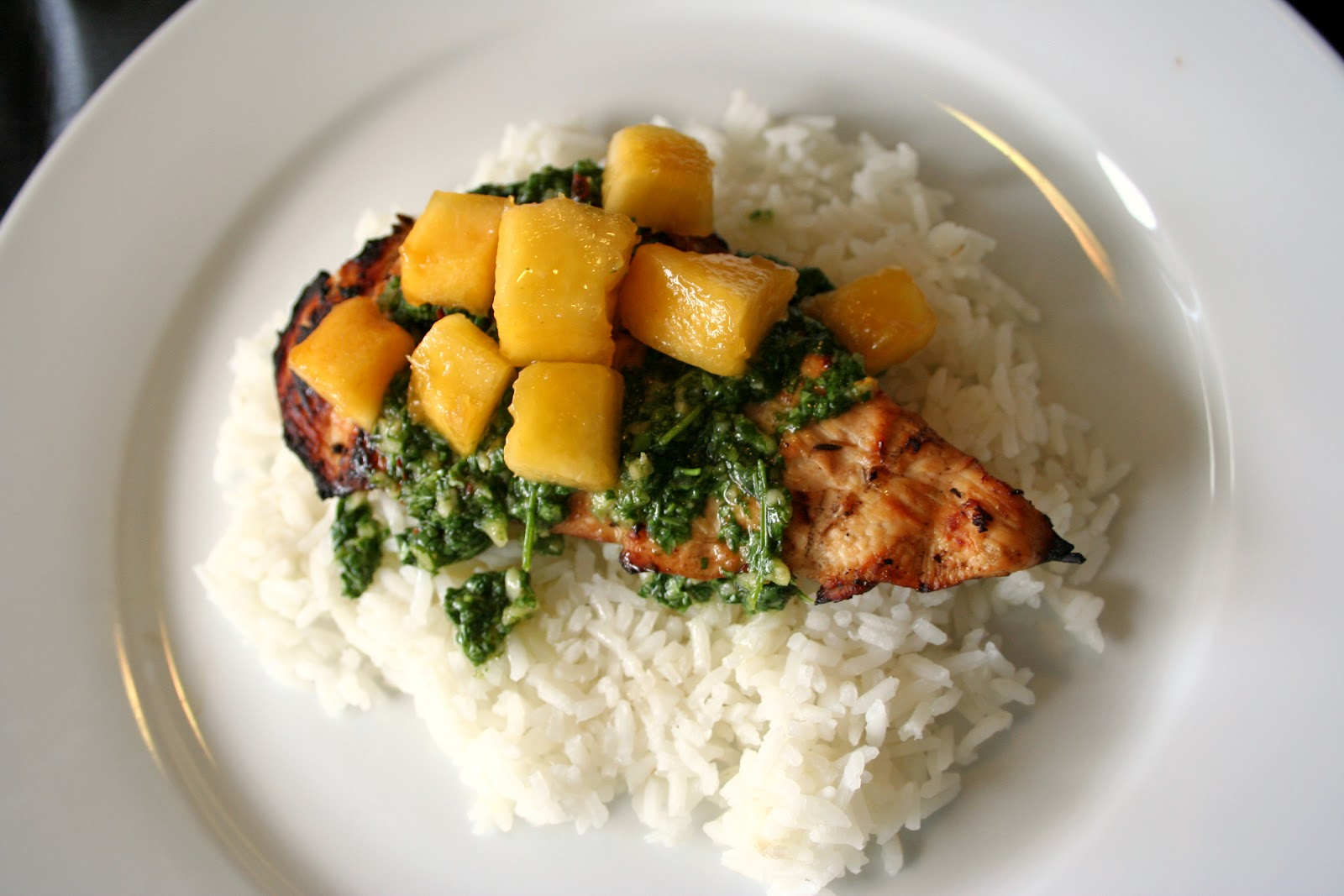 ... Love of Food: Grilled Chicken with Cilantro Chimichurri and Peaches
