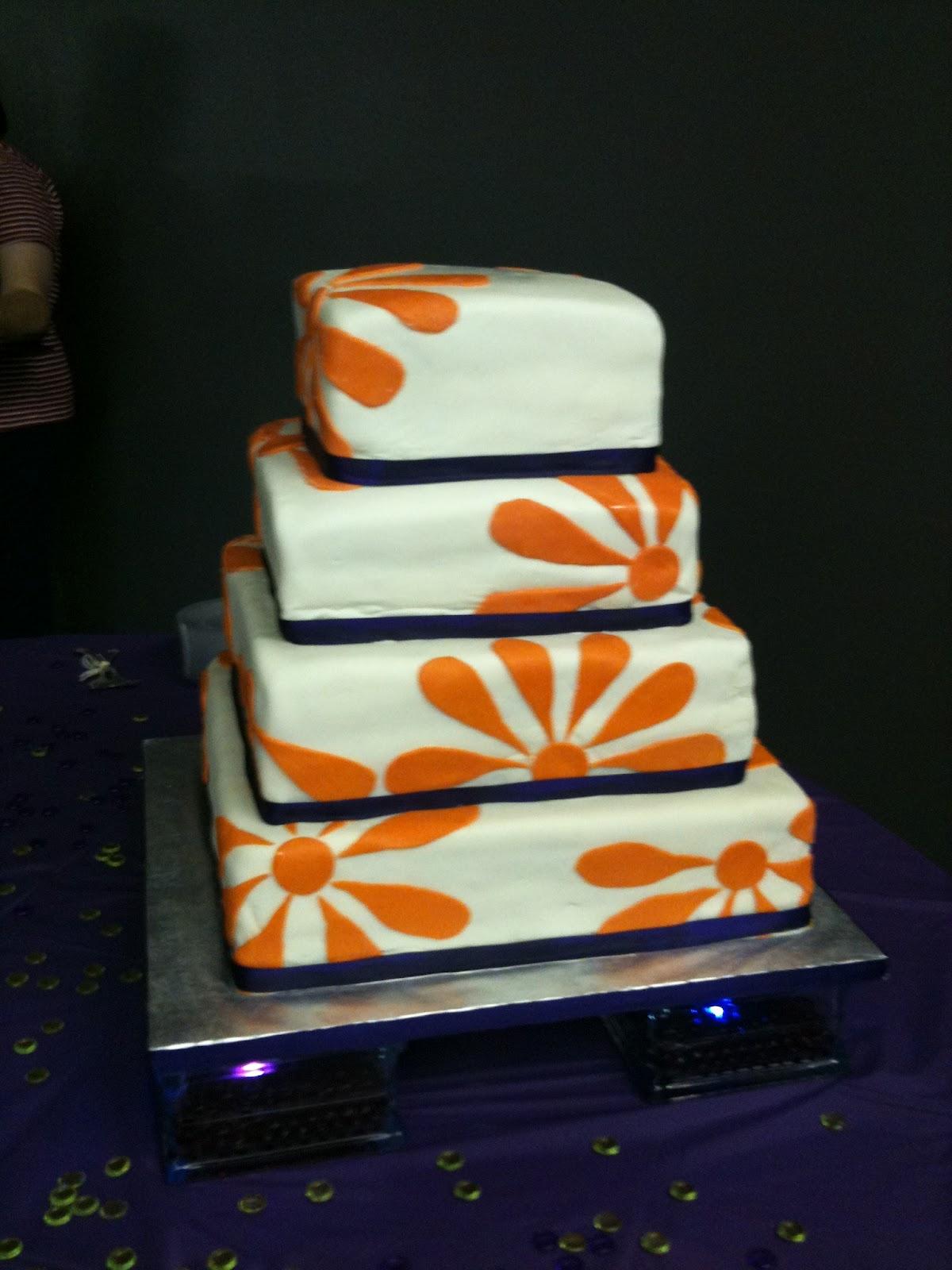 A Blissful Bash: Purple and orange wedding cake