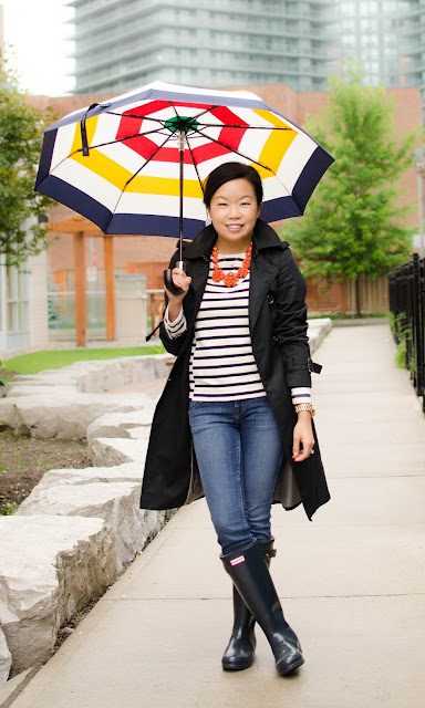 Hudson's Bay Company Collection Umbrella, J.Crew side seam sailor top, J.Crew statement jewellery, Hunter Wellies, rainwear