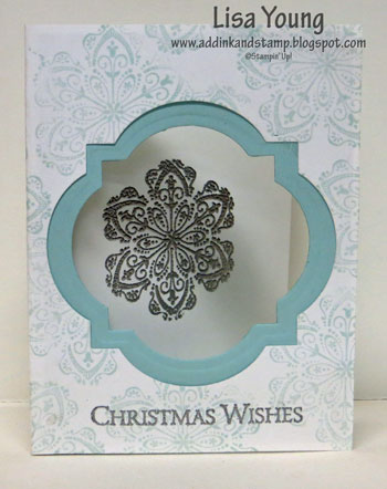 Stampin' Up! Mixed Bunch stamp set. Three Paneled Christmas card. Silver and blue. Handmade card by Lisa Young, Add Ink and Stamp.