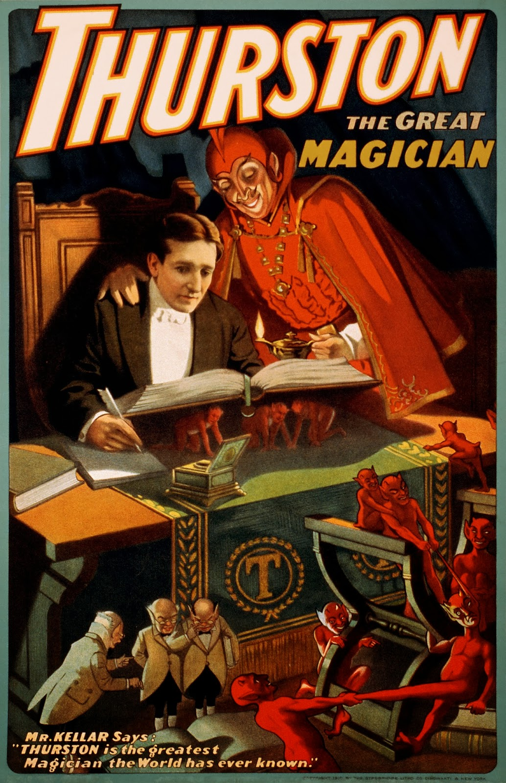 """Vintage 1894 /""""Kellar/"""" Reads with the Devil Occult Magic Poster Art Print A3"""