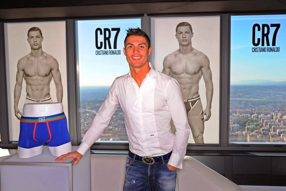 Cristiano Ronaldo smiles and poses in front of his new CR7 underwear range