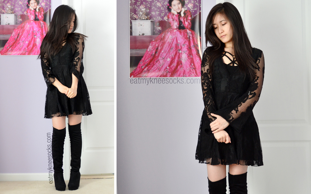 More OOTD photos in the black v-neck FP dupe from SheInside, paired with the Free People strappy front bra and faux suede tall boots.