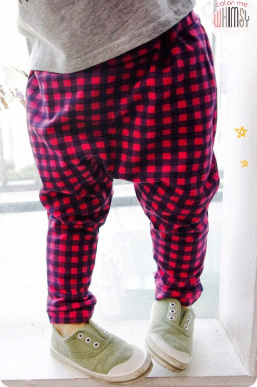 Brilliant black and red check baggy pants by Color Me WHIMSY - kids fashion