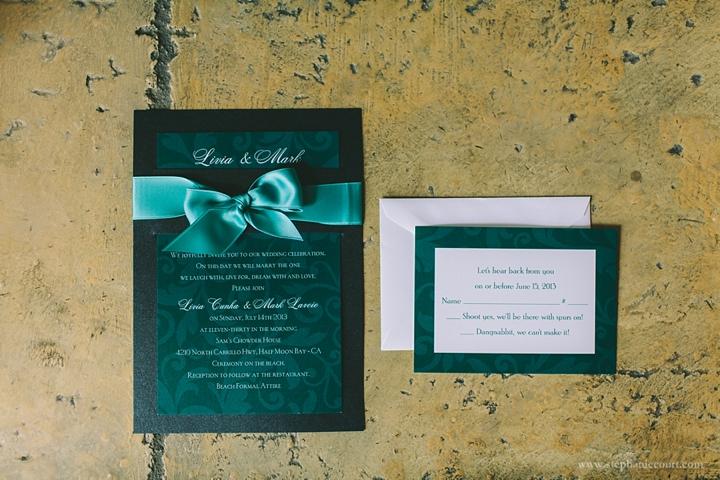 """sea inspired teal wedding invitations"""